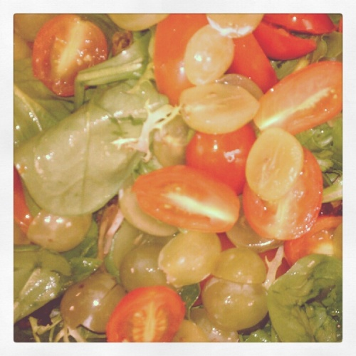 Greens w/ Cherry Tomatoes, Grapes and Red Wine Vinegar (Ok, yes, some salad has been involved in this endeavor...)