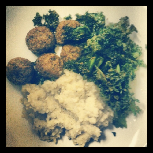 Potato/Cauliflower Mash w/ Trader Joe's Meatless Meatballs and Roasted Kale